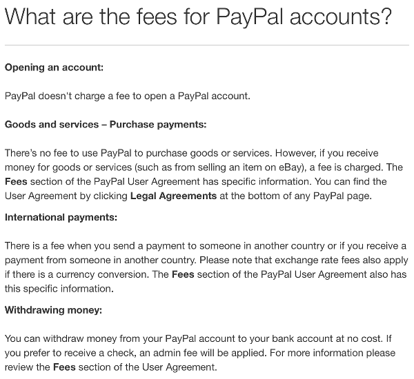 Paypal Fees